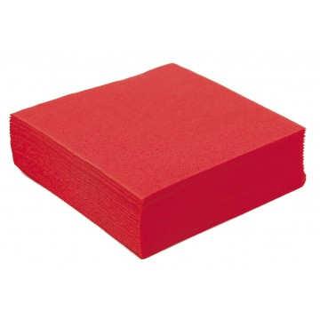 SERVIETTE COCKTAIL OUATE MICROGAUFREE ROUGE 2 PLIS 25 x 25